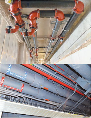 Used to isolate the loop on each floor, the off-set disc butterfly valve design allows for 360-degree compression when shut-off is necessary after sitting open for years. Shown before and after insulation.