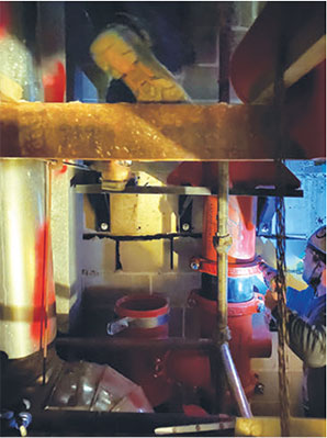 Space constraints within the shaft were accommodated for with shorter pipe spools and prefabricated anchors.