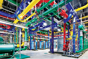 These colorful pipes are responsible for carrying water into and out of the Google Data Center in Dalles, Ore. The blue pipes supply cold water and the red pipes return the warm water back to the chiller. (Image provided courtesy of Google)
